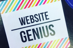 Image shows a Raising IT sticker which reads: Website Genius.